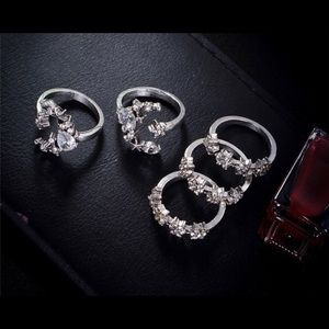 5 piece Boho Moon & Star Silver Crystal Ring Set